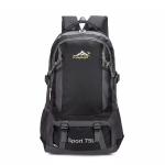 Nylon Double Shoulders School Bag Travel Backpack Bag (Black)