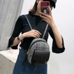 Leisure Fashion Woolen Cloth Double Shoulders Bag (Black)