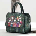 Leisure Fashion Creative Printing Design Slant Shoulder Bag Handbag (Green)