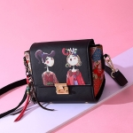 Leisure Fashion Creative Printing Design PU Leather Slant Shoulder Bag (Black)