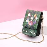 Modern Girls Pattern Leisure Fashion PU Leather Chain Slant Shoulder Bag (Green)