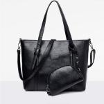 Leisure Fashion Shoulder Bag Handbag, with Wallet (Black)