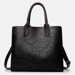 Leisure Fashion PU Leather Slant Shoulder Bag Handbag (Black)