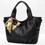 Leisure Fashion Silk Scarf Shoulder Bag Handbag(Black)