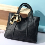 Leisure Fashion Silk Scarf Shoulder Bag Handbag (Black)