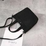 Leisure Fashion Corduroy Slant Shoulder Bag Handbag (Black)