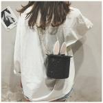 Leisure Fashion Cute Rabbit Ears Chain Slant Shoulder Bag (Black)