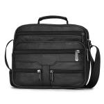 Leisure Fashion Top-grain Leather Slant Shoulder Bag Handbag (Black)