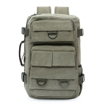 High Capacity Leisure Fashion Canvas Double Shoulders Bag Backpack (Army Green)