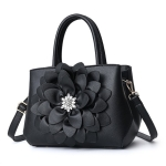 Rose Flower Diamond Leisure Fashion PU Slant Shoulder Bag Handbag (Black)