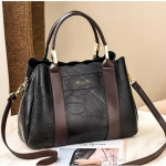 Leisure Fashion PU Slant Shoulder Bag Handbag(Black)