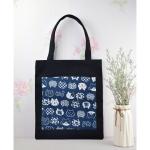 Lovely Kitten Flower Pattern Tote Bag Hand Bag(Black)
