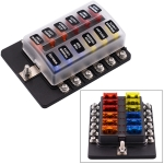 1 in 12 Out Fuse Box Screw Terminal Section Fuse Holder Kits with LED Warning Indicator for Auto Car Truck Boat