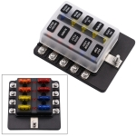 1 in 10 Out Fuse Box Screw Terminal Section Fuse Holder Kits with LED Warning Indicator for Auto Car Truck Boat