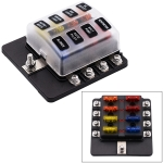 1 in 8 Out Fuse Box Screw Terminal Section Fuse Holder Kits with LED Warning Indicator for Auto Car Truck Boat