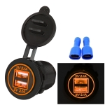 Universal Car Charger 2 Port Power Socket Power Dual USB Charger 5V 4.2A IP66 with Aperture (Orange Light)