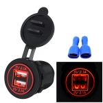Universal Car Charger 2 Port Power Socket Power Dual USB Charger 5V 4.2A IP66 with Aperture (Red Light)