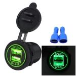 Universal Car Charger 2 Port Power Socket Power Dual USB Charger 5V 4.2A IP66 with Aperture (Green Light)