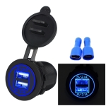 Universal Car Charger 2 Port Power Socket Power Dual USB Charger 5V 4.2A IP66 with Aperture(Blue Light)