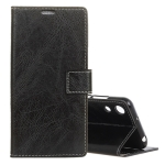 Retro Crazy Horse Texture Horizontal Flip Leather Case for Huawei Honor Play 8A, with Holder & Card Slots & Wallet & Photo Frame (Black)