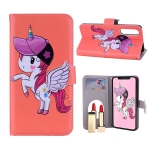 Unicorn Pattern Horizontal Flip Leather Case for Huawei P30, with Holder & Mirror & Card Slot & Wallet (Orange)