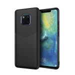 Ultra-thin Shockproof Soft TPU + Leather Case for Huawei Mate 20 (Black)