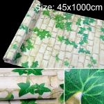Green Leaf White Brick Creative 3D Stone Brick Decoration Wallpaper Stickers Bedroom Living Room Wall Waterproof Wallpaper Roll, Size: 45 x 1000cm