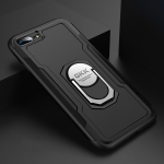 GKK Magnetic 360 Degree Rotation Ring Holder PC + TPU Armor Protective Case for iPhone 7 / 8 Plus (Black)
