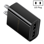 TOTUDESIGN Glory Series CACA-012 DC 5V-2.4A Dual USB Interface Travel Charger, US Plug (Black)