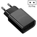 TOTUDESIGN Glory Series CACA-012 DC 5V-2.4A Dual USB Interface Travel Charger, EU Plug (Black)