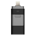 SHISUO 3 in 1 128GB 8 Pin + Micro USB + USB 3.0 Metal Push-pull Flash Disk with OTG Function(Black)