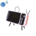 PTH-800 3W Retro TV Modeling Wireless Bluetooth Speaker with Mobile Phone Holder & Radio Function, Support Card & Call(Orange)