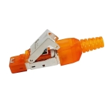 Tool-free Assembly RJ-45 Connector Modular Plug, STP Cat6a Gigabit Shielding(Orange)
