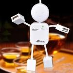 4 Ports High Speed USB 2.0 Humanoid HUB Splitter(White)