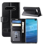 R64 Texture Single Fold Horizontal Flip Leather Case for Galaxy S10+, with Holder & Card Slots & Wallet (Black)