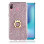 Glittery Powder Shockproof TPU Case for Galaxy A6s, with 360 Degree Rotation Ring Holder(Rose Gold)
