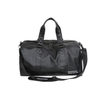 PU Leather Shoulder Travel Bag Leisure Sport Handbag with Shoes Socket (Color:Black Size: + L)