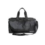 PU Leather Shoulder Travel Bag Leisure Sport Handbag with Shoes Socket (Color:Black Size: + L)