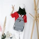 Vertical Stripes Pattern Double Shoulders School Bag Travel Backpack Bag (Black)