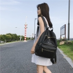 PU Leather Double Shoulders School Bag Travel Backpack Bag (Black)