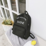 Words Pattern Double Shoulders School Bag Travel Backpack Bag (Black)