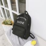 Words Pattern Double Shoulders School Bag Travel Backpack Bag (Black)