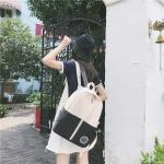 Middle Zipper Design Double Shoulders School Bag Travel Backpack Bag (Black)