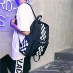 Square Pattern Double Shoulders School Bag Travel Backpack Bag (Black)