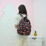 Carrot Pattern Double Shoulders School Bag Travel Backpack Bag (Black)
