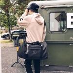 Oxford Shoulder Travel Bag Leisure Sport Handbag with Shoes Socket (Black)
