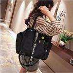 Canvas Shoulder Travel Bag Leisure Handbag (Black)