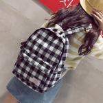 Lattice Canvas Double Shoulders School Bag Travel Backpack Bag (Black)