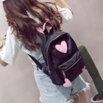 Heart Pattern Double Shoulders School Bag Travel Backpack Bag (Pink)