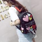Hearts Pattern Double Shoulders School Bag Travel Backpack Bag (Colour)